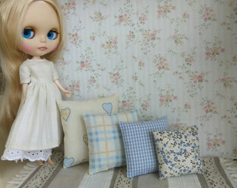 4 Pillow cushion for Blythe A set of 4 small pillows Decor extra pillow for bed playscale bedding Blue and beige Diorama 1:6 scale dollhouse
