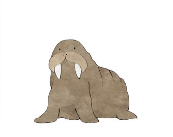 Walrus Nursery Art Print - Arctic Animal Art for Kids Room