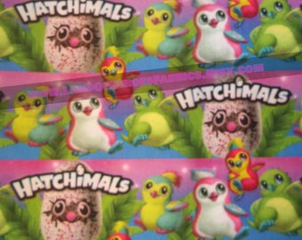 The Hatchimals on a 56 Inch WIDE Cotton-Poly Fabric - Sold by the Half-Yard or Yard