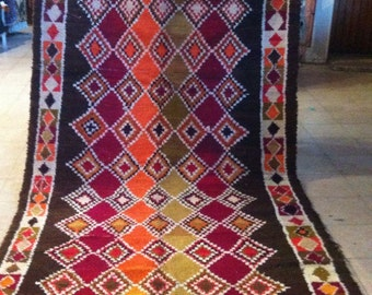 Moroccan Contemporary, Vintage, Colorful Handwoven Diamond Azilal Rug, Sheeps Wool, 400 x 186 cm / 13.12 x 6.1 ft