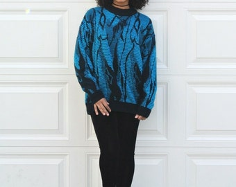 Vintage 80s OVERSIZED Cosby Sweater Hipster Slouchy Boyfriend Sweater Blue Crewneck Pullover Sweater Unisex Abstract Sweater