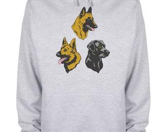 Three Dogs Hoodie Pet Inspired Dog Heads Hooded Sweatshirt - dogs3hds-HyGy