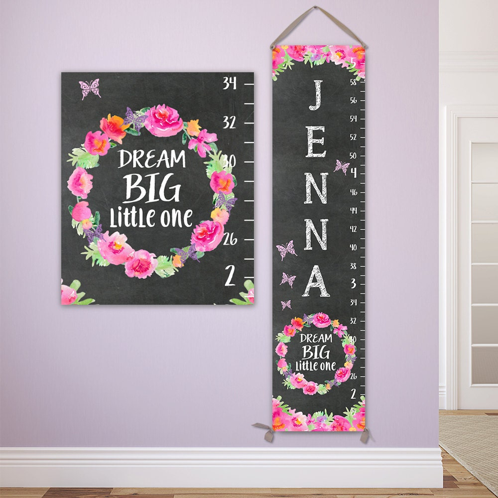 Dream big little one watercolor flowers growth chart height dream big little one watercolor flowers growth chart height chart height ruler floral kids art canvas growth chart gc1003c nvjuhfo Image collections