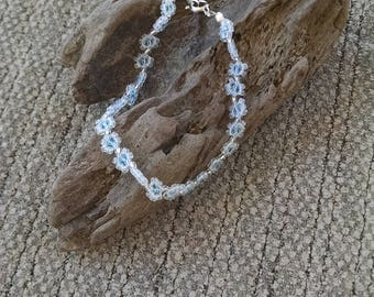 Beaded Frosted Clear and Pale Blue daisy Chain Bracelet, Flower Chain, Boho Jewelry