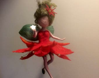 Needle felted fairy, Waldorf inspired, Christmas Angel, Winter, Wool fairy, Red dress, Christmas star, Gift, home décor