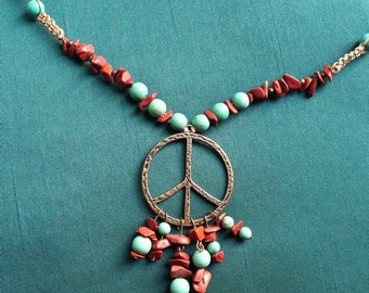 Dancing in dunes - peace magnesite and Jasper necklace