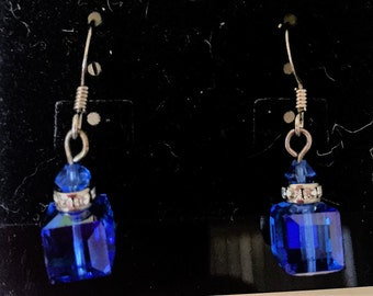 Royal blue Swavorski Crystal drop earrings