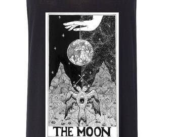 THE MOON // Moon child, Tarot card fortune teller psychic women's tank, tarot shirt, boho tarot tank, the moon card, psychic fortune teller