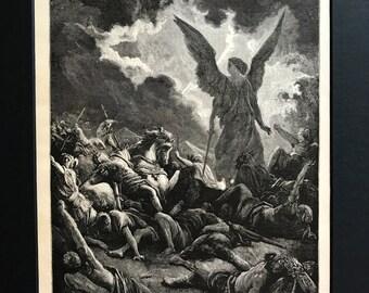 "1890 Original Book Print, Antique Print, Gustave Dore, The Bible Gallery - ""The Destruction of Sennacherib Host "" - Religious Print"