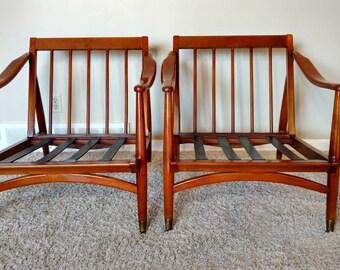 Mid Century Danish Modern Pair of Wood Lounge Chairs