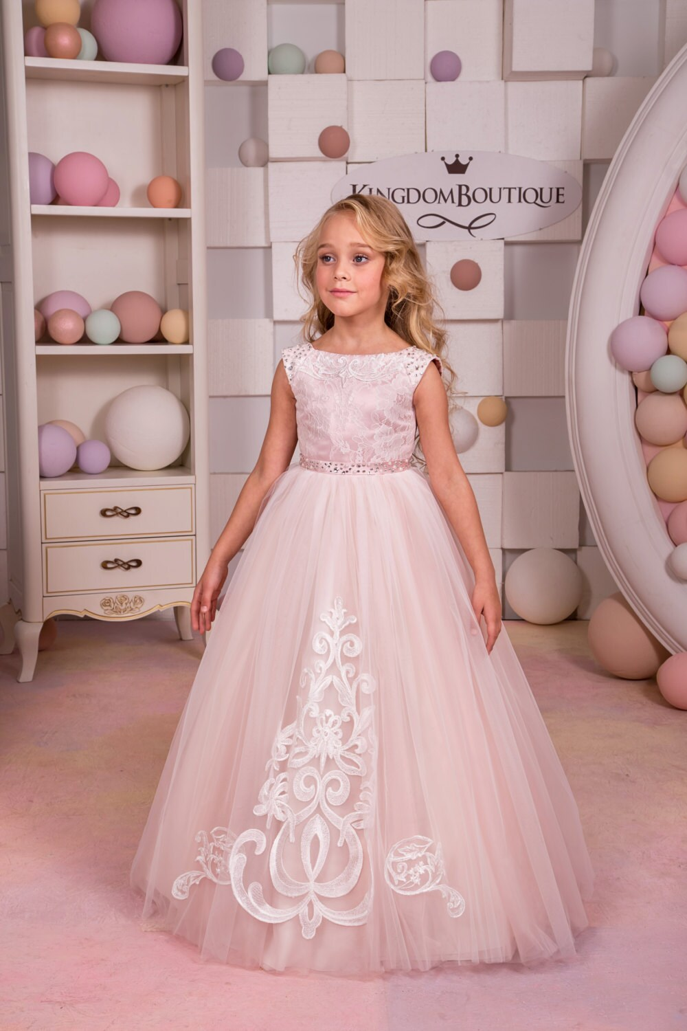 Blush Pink Lace Flower Girl Dress - Flower Girl Dresses