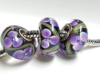 2 flower murano European glass charms, 14x8mm, purple flower, large hole 4.5mm, sterling 925