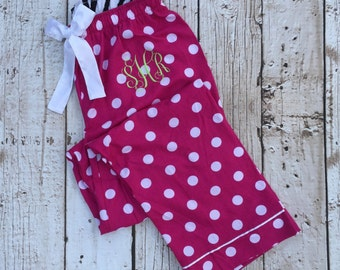Monogrammed Polka Dot Lux Flannel Lounge Pajama Pants