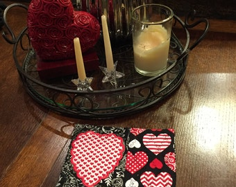 Valentine Mug Rug, Valentine Coaster, Table Decoration, Valentine Gift, Hostess Gift, Heart, Teacher Gift, Red Heart, Black & White Paisley