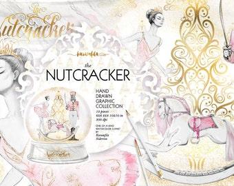 Nutcracker Clipart, Nutcracker Christmas Clipart Xmas Graphics Watercolor Illustrations Planner Stickers DIY Ballerina Snow Globe Gold Foil