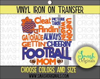 Football Mom Word Art Vinyl Iron On Transfer, Football Mom Iron on Decal for Shirt