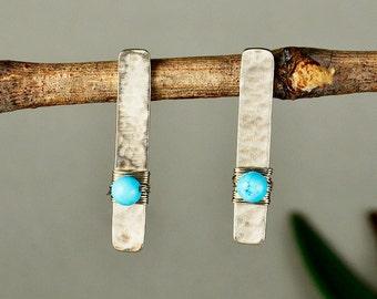 Turquoise long studs, hammered bar studs, alpaca earrings, artisan metal work, women gift under 20, geometric studs, wrapped jewelry