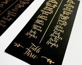 Table plan, seating plan, gold, black, calligraphy, typography