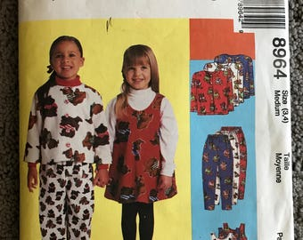 McCall's Children's Jacket, Jumper & Pull-on Sewing Pattern, Vintage DIY, 8964, Toddlers size 3-4, Clothes Pattern, Girls Dress, Top, Pants