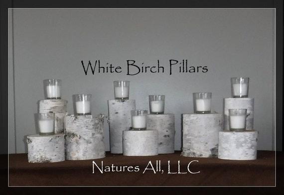 "White Birch Pillars/White Birch Risers/9 Piece Set/3.5""-5"" Diameters/3"", 5"" & 7"" Tall/White Birch Wedding And Home Decor /Item#:WBP-3579"