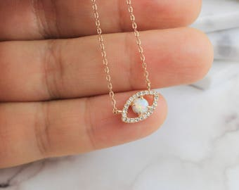 Evil Eye Necklace, Rose Gold Evil Eye with Opal Stone Necklace, Rose Gold Eye Necklace, Dainty Necklace,7008