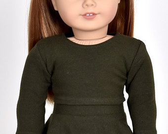Long sleeve cropped top for 18 inch dolls Color Dark Olive Green