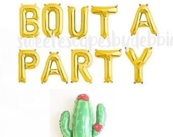 Taco Bout A Party Gold Letter Balloons ~ Fiesta Party~ Cactus Balloon Set ~ Mexican Fiesta Party Decor~ 16 inch Air Fill Only