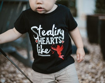 Stealing Hearts Like Cupid - Valentine's Day Shirt - Funny Valentine Shirts - Unisex Kids' Shirts - Cupid Shirts - Boys' Shirts - Cute