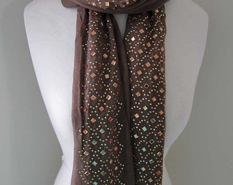 Silk Brown Scarf with Securely Ironed-on Sparkling Jewels - All seasons long brown silk scarf, gift for her, Holiday accessories