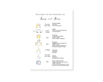 Itinerary/Welcome Note: Watercolor Wedding Timeline