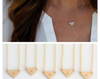 Bridesmaid Jewelry, Gold Triangle Necklace, Personalized Bridesmaid Gift, Initial Necklace, Wedding Gift, LEILAjewelryshop, N235