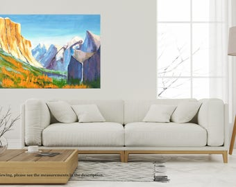 Yosemite painting, Oil painting, Landscape art, Palette knife art, Mountain painting, Large painting, California painting, Abstract oil art