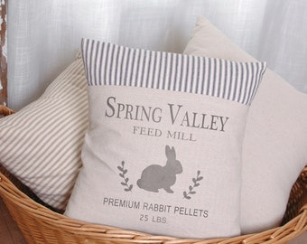 Spring Pillow, Bunny Pillow, Bunny Rabbit, Rabit Feedsack, Pillow Cover, Ticking