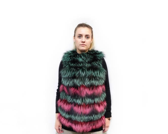 Colorful Fur Vest,Sleeveless Fur Jacket F543