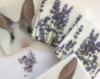 Set of 2 Marble Coasters~Bunny and Lavender