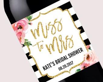 Kate Bridal Shower Wine Bottle Labels, Personalized Champagne Label, Miss to Mrs, DIY Printable Wine Label, Floral Custom Spade Shower Favor