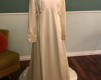 1960's Satin Bianchi Wedding Gown S-M