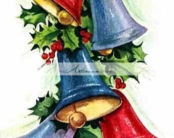 Digital Download Printable Art - Christmas Bells Holly Berry Vintage Christmas Card Art Image - Altered Art Paper Crafts Scrapbooking