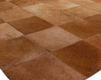 Dark Beige Cowhide Squares Design No. 243 - Custom Sizes
