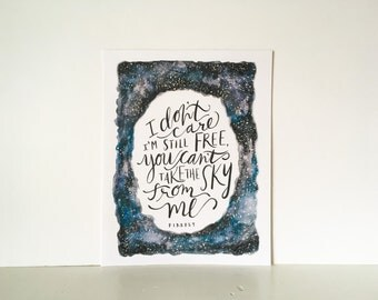 You Can't Take the Sky From Me // Hand Lettered / 8 x 10 / Art Print / Galaxy / Stars / Typography / Firefly