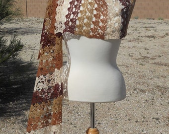 Browns and Beige Striped Fine Lace Merino Wool Rectangular Crocheted Wrap