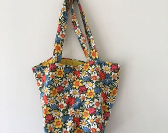 Vintage Floral/Daisy Print Bag/Tote