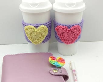 Purple Crochet Cup Cozy: Coffee/Tea Sleeve with Heart (Pink or Yellow)    [059]