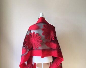 Felted wool scarf. Women wool scarf. Handmade wool shawl. Red wool scarf. Felted wool wrap.