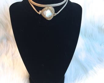Mother of Pearl Bling Choker    Gold or Silver   