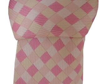 TM LEWIN Men's Tie Pink White & Yellow Check