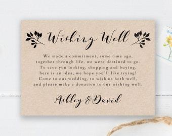 Printable Wishing Well Card Template Rustic Wedding