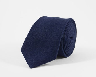 Dark blue tie, Blue skinny tie, Dark blue linen tie, Blue wedding tie, stocking stuffer, Groomsmen tie, Mens blue necktie, bow tie for men