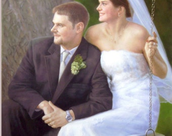 Custom Wedding Portrait. Custom Portrait. Custom Oil painting. Commission wedding. Wedding Painting.Wedding personalized gift.6 Sizes