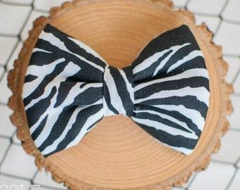 Zebra Print Bow Handmade Bow - Tie - Headband - Artsy - Op Art - Camouflage - Black & White